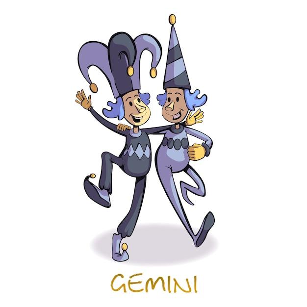ジェミニ星座人フラット漫画。道化師の帽子の双子、占星術のシンボル。コマーシャル、アニメーション、印刷デザイン用の2dキャラクターテンプレートをすぐに使用できます。孤立したコミックヒーロー Premiumベクター