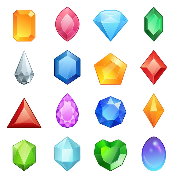 Gems and diamonds icons set in different colors Premium Vector