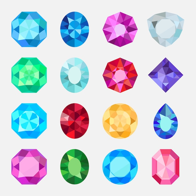 Gems isolated on white background Premium Vector