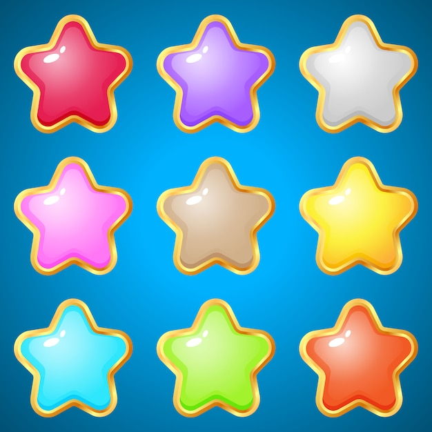 Gems stars 9 colors for puzzle games. Premium Vector