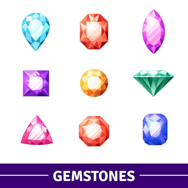Gemstones icons set Free Vector
