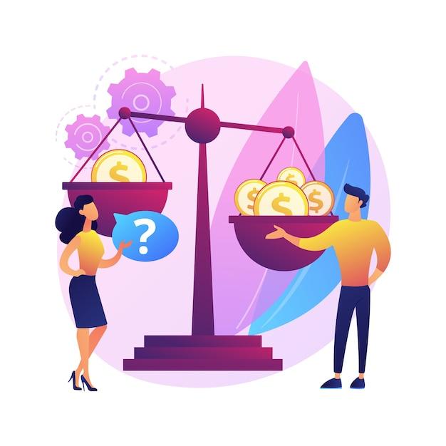 性差別抽象的な概念図。性差別、ジェンダーの役割とステレオタイプ、職場の不平等、スキルと能力、女性の権利、労働市場。 無料ベクター