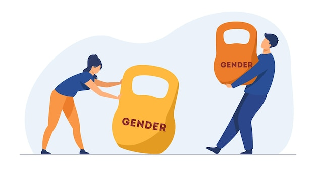 Gender discrimination and inequality. man and woman lifting kettlebells of different weight. cartoon illustration Free Vector