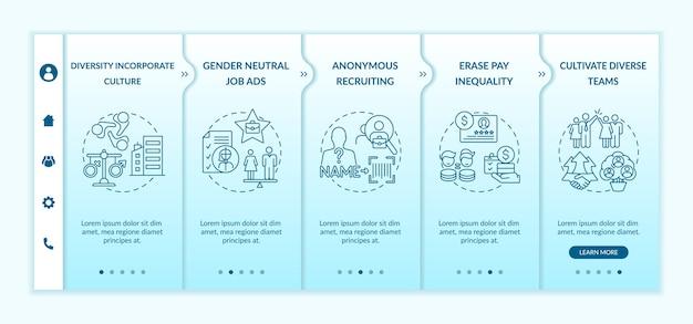 Gender diversity implementation tips onboarding template Premium Vector