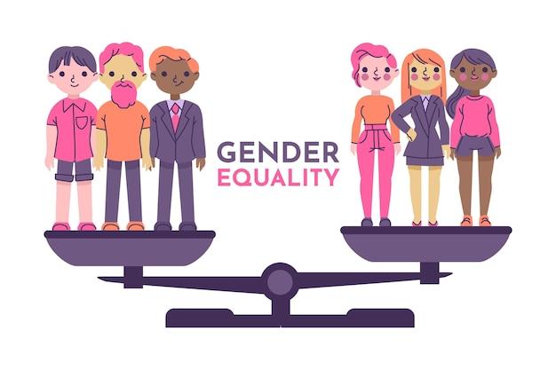 ジェンダー平等のコンセプト 無料ベクター