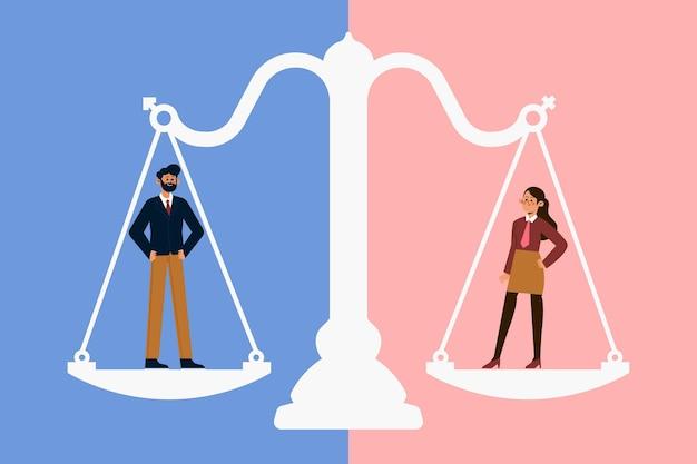 Концепция гендерного равенства Premium векторы