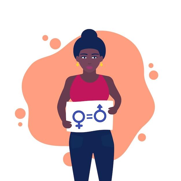 男女共同参画、平等の権利の記号、手にバナーを持つ活動家 Premiumベクター