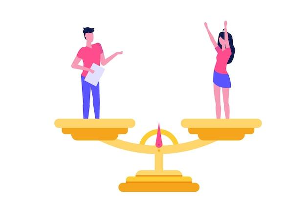 プレミアムベクター | 男女平等等尺性概念