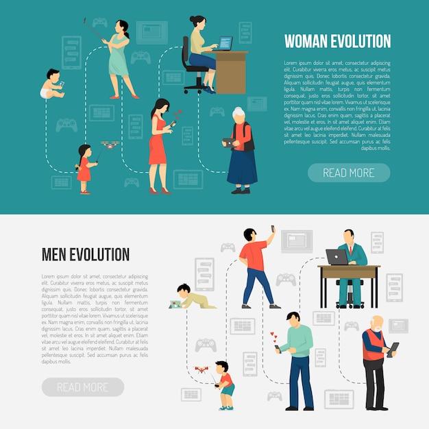 Gender evolution banners set Free Vector