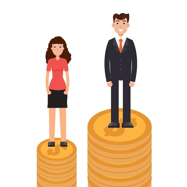 ジェンダーギャップ、ビジネスの違いと差別、男性対女性、不平等コンセプト。 Premiumベクター