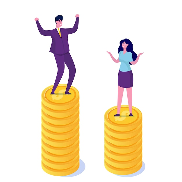 男女格差、ビジネスの違い、差別 Premiumベクター