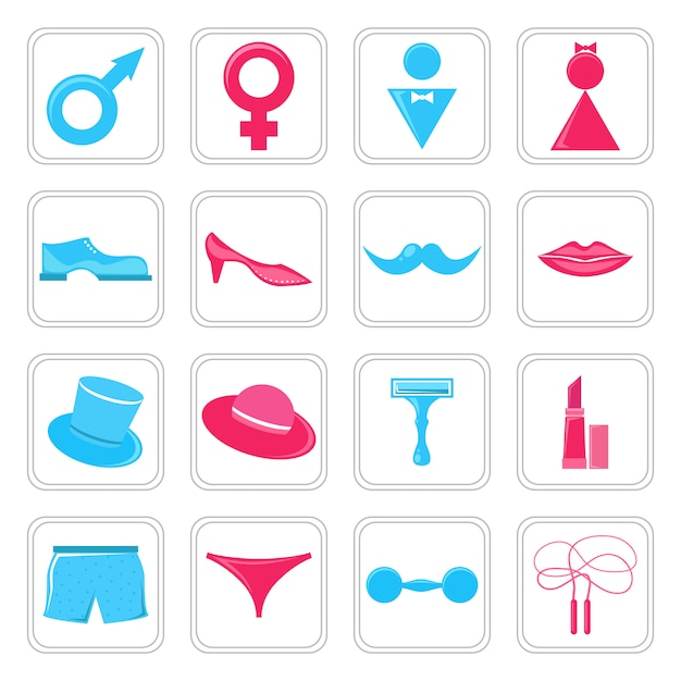 Gender icons set Premium Vector
