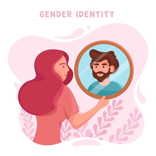 女性とミラーのジェンダーアイデンティティの概念図 Premiumベクター