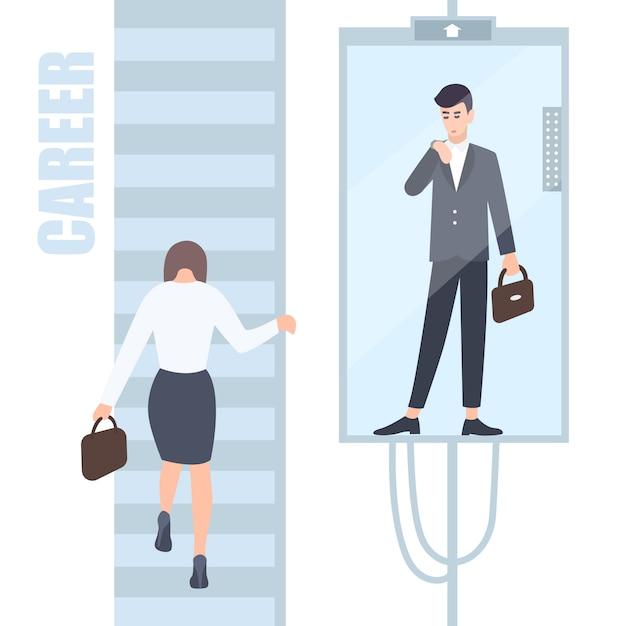 ジェンダーの不平等の問題の概念。ビジネスの女性と男性は、男性と女性のための異なる機会があるキャリアのはしごを登ります。漫画の平らなカラフルなイラスト。 Premiumベクター