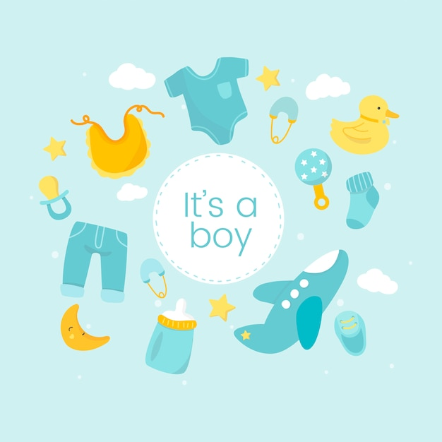 Gender reveal of a boy Free Vector