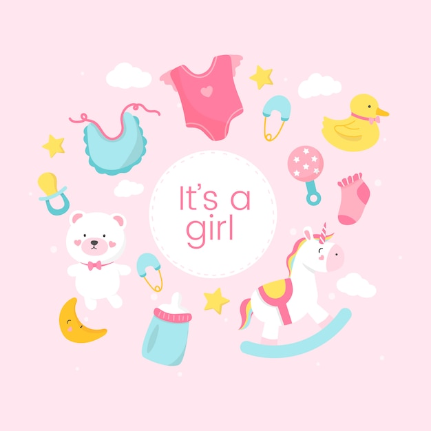 Gender reveal of a girl Free Vector