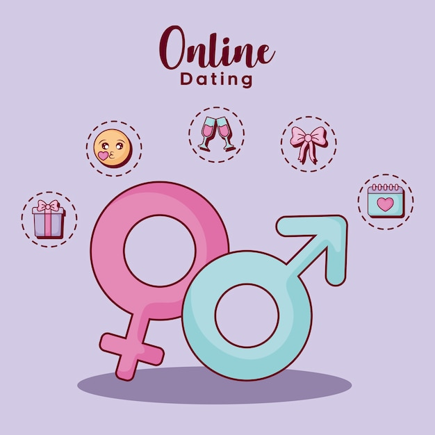 Gender Symbols With Online Dating Related Icons Vector Premium