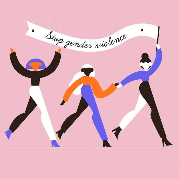 Gender violence concept Free Vector