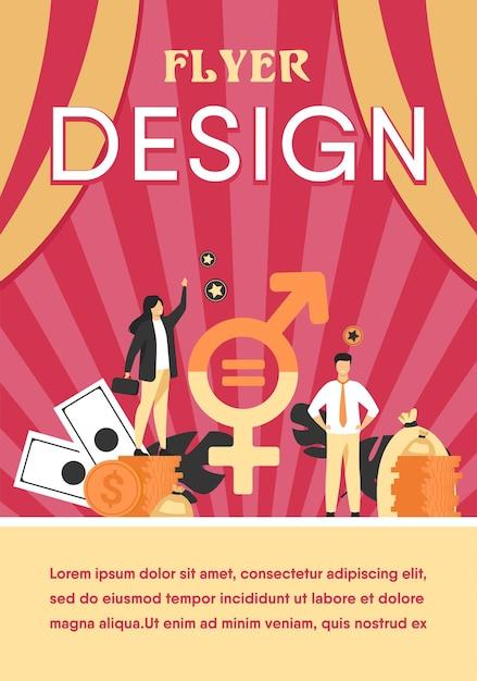 비즈니스 격리 된 평면 플라이어 템플릿에서 남녀 임금 평등 무료 벡터