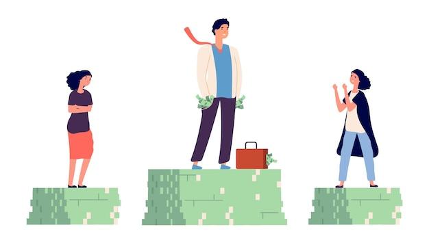 男女の賃金格差。不平等な収入の概念。 Premiumベクター
