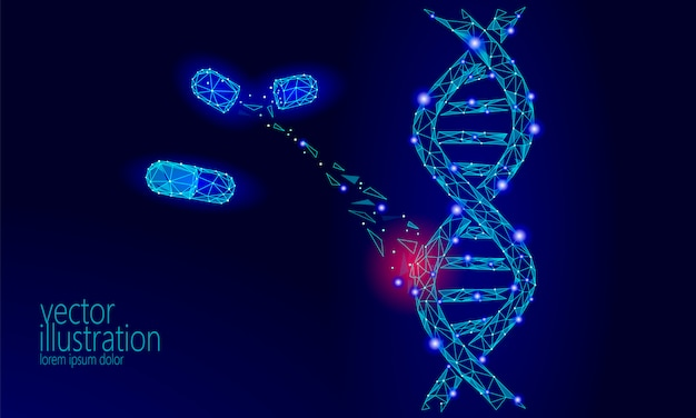 Gene therapy dna 3d chemical molecule structure low poly, Premium Vector