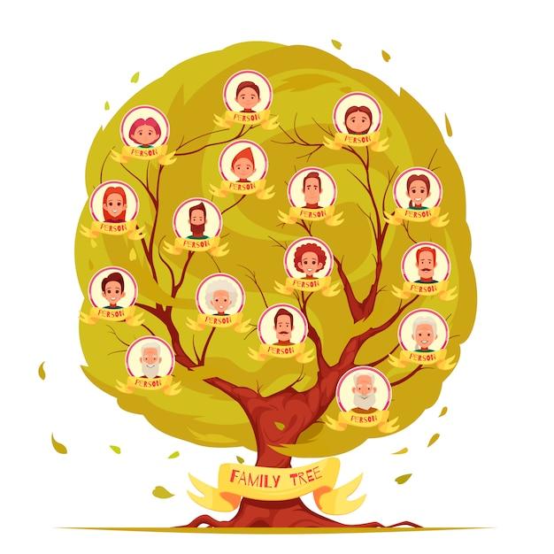 Генеалогический древовидный набор членов семьи от пожилых людей до иллюстрации молодого поколения Бесплатные векторы