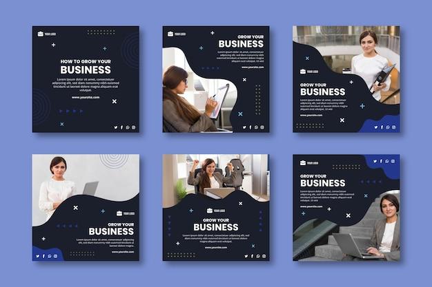 Общий бизнес шаблон поста в instagram Premium векторы