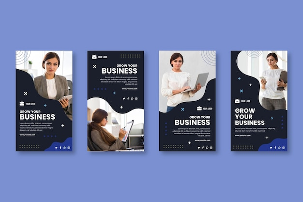 General business instagram stories template Premium Vector
