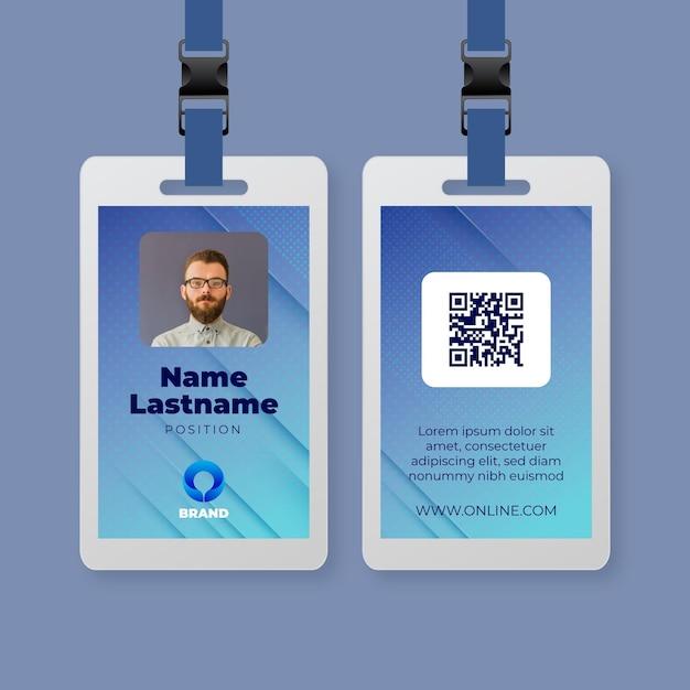 General business seminar id card Premium Vector