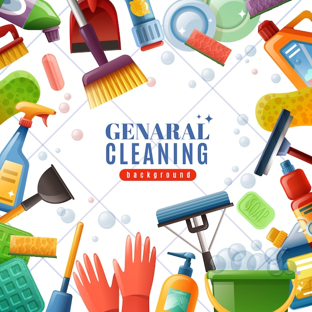 General cleaning frame Free Vector