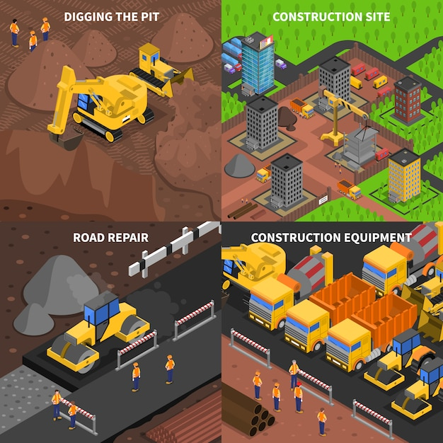 General construction concept isometry Free Vector