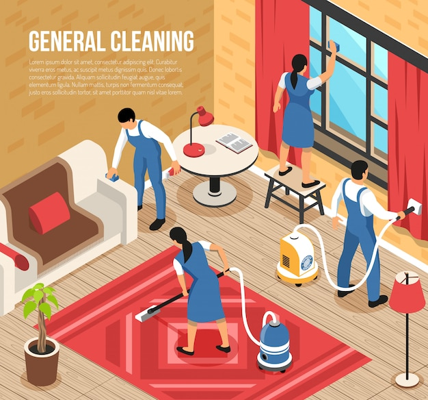 General house cleaning service isometric composition with professional team using industrial vacuum-cleaners quality squeegee vector illustration Free Vector