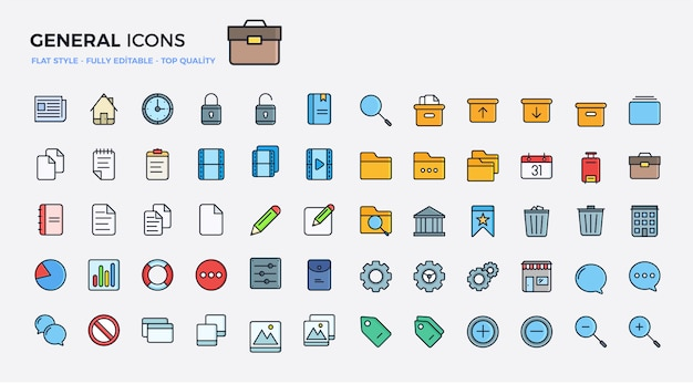 General icons colored Premium Vector