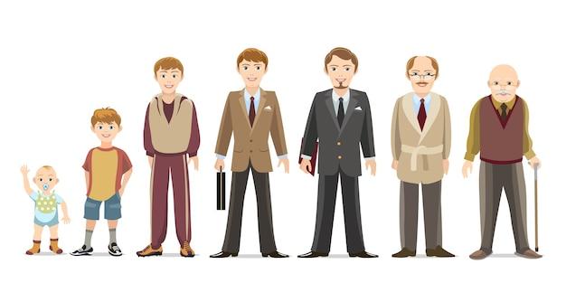 Поколение мужчин от младенцев до пожилых. ребенок и подросток, мальчик и пожилой мужчина. Бесплатные векторы