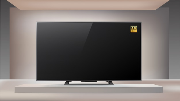 Next generation smart led 4k tv in enlighted studio background Premium Vector