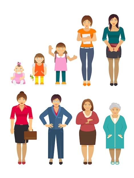 Generation women flat Free Vector