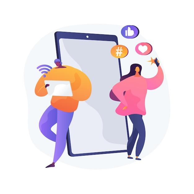 Z 세대 추상 개념 벡터 일러스트입니다. 초 연결 세계, 태블릿이있는 어린 시절, 모바일 장치, 소셜 미디어, 모바일 뱅킹, 개인 금융, 청소년 추상적 인 은유. 무료 벡터