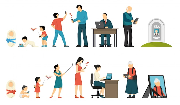 Generations and gadgets composition Free Vector