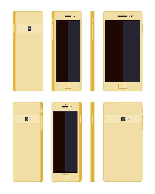 Generic gold smartphone Premium Vector