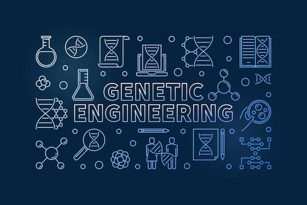 Genetic engineering blue outline illustration Premium Vector