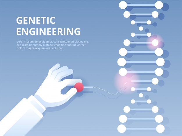 Genetic engineering, gene editing tool crispr Premium Vector
