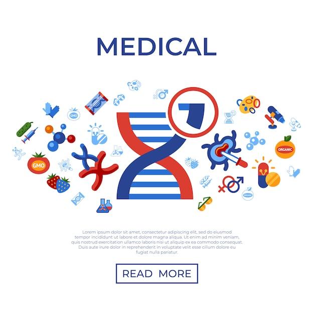 Genetic engineering gmo technology icons set Premium Vector