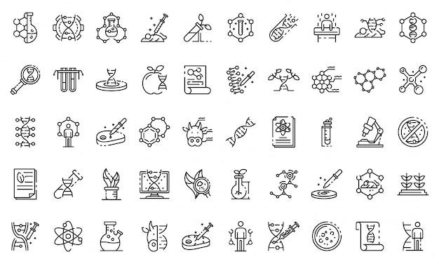 Genetic engineering icons set, outline style Premium Vector