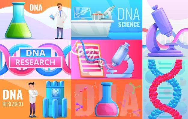 Genetic engineering illustration set on cartoon style Premium Vector
