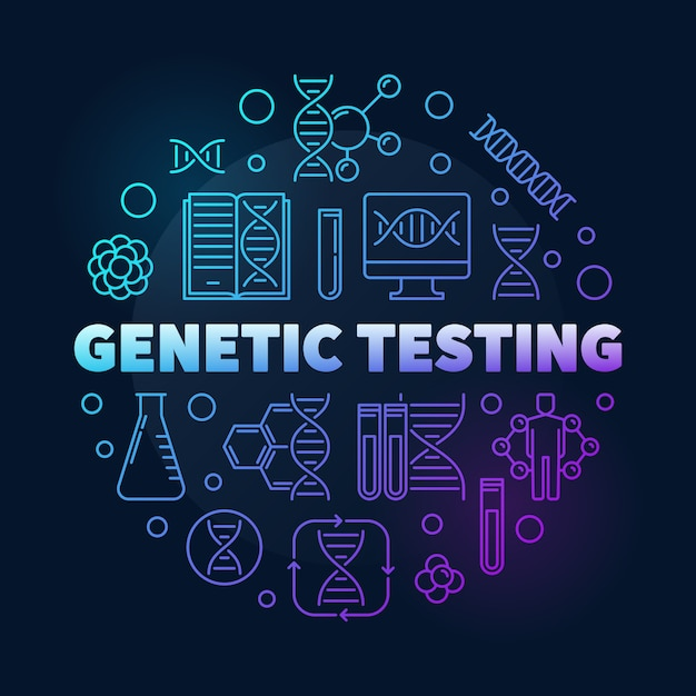 Genetic testing vector round colorful outline illustration Premium Vector