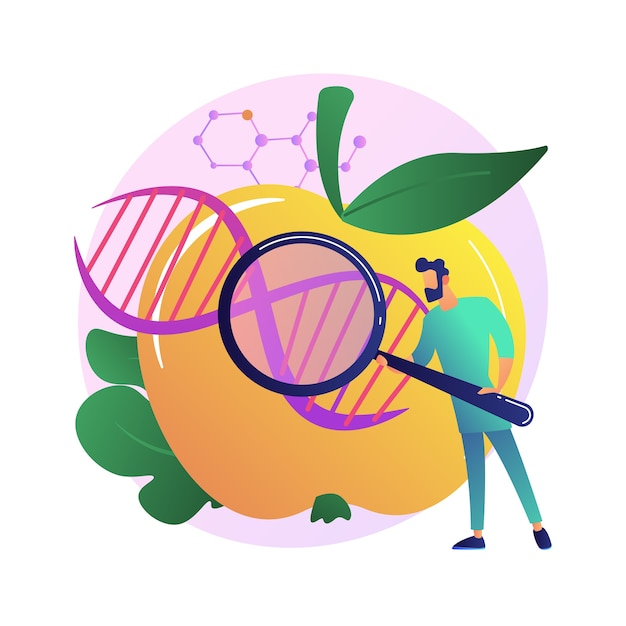 遺伝子組み換え食品の抽象的な概念図。遺伝子組み換え生物、gm食品産業、バイオテクノロジー製品、健康問題、栄養の安全性、病気のリスク。 無料ベクター