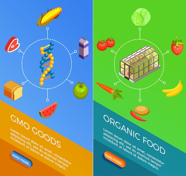 Genetically modified organisms isometric banners Free Vector