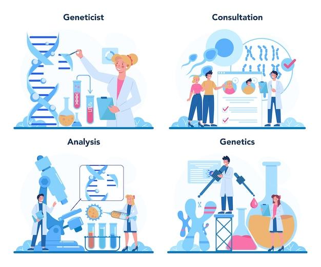 遺伝学者の概念セット。医学と科学技術。 Premiumベクター