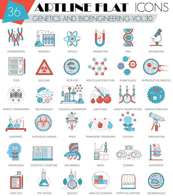 Genetics and bioengineering flat line icons set Premium Vector