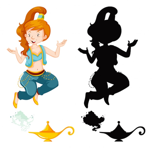 Genie girl magic lantern or aladdin lamp in color and silhouette isolated on white background Free Vector